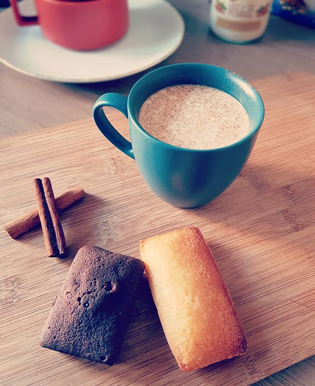 Bek and Veggie with cup, cinnamon and cakes