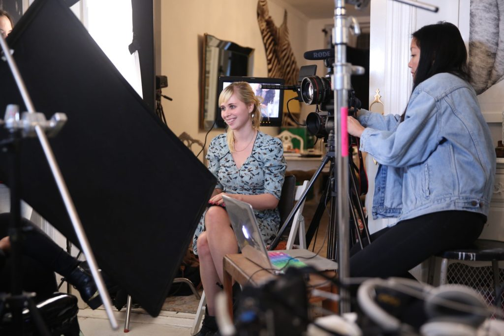 Erin Bagwell - sitting - film production on female entrepreneurs and feminism
