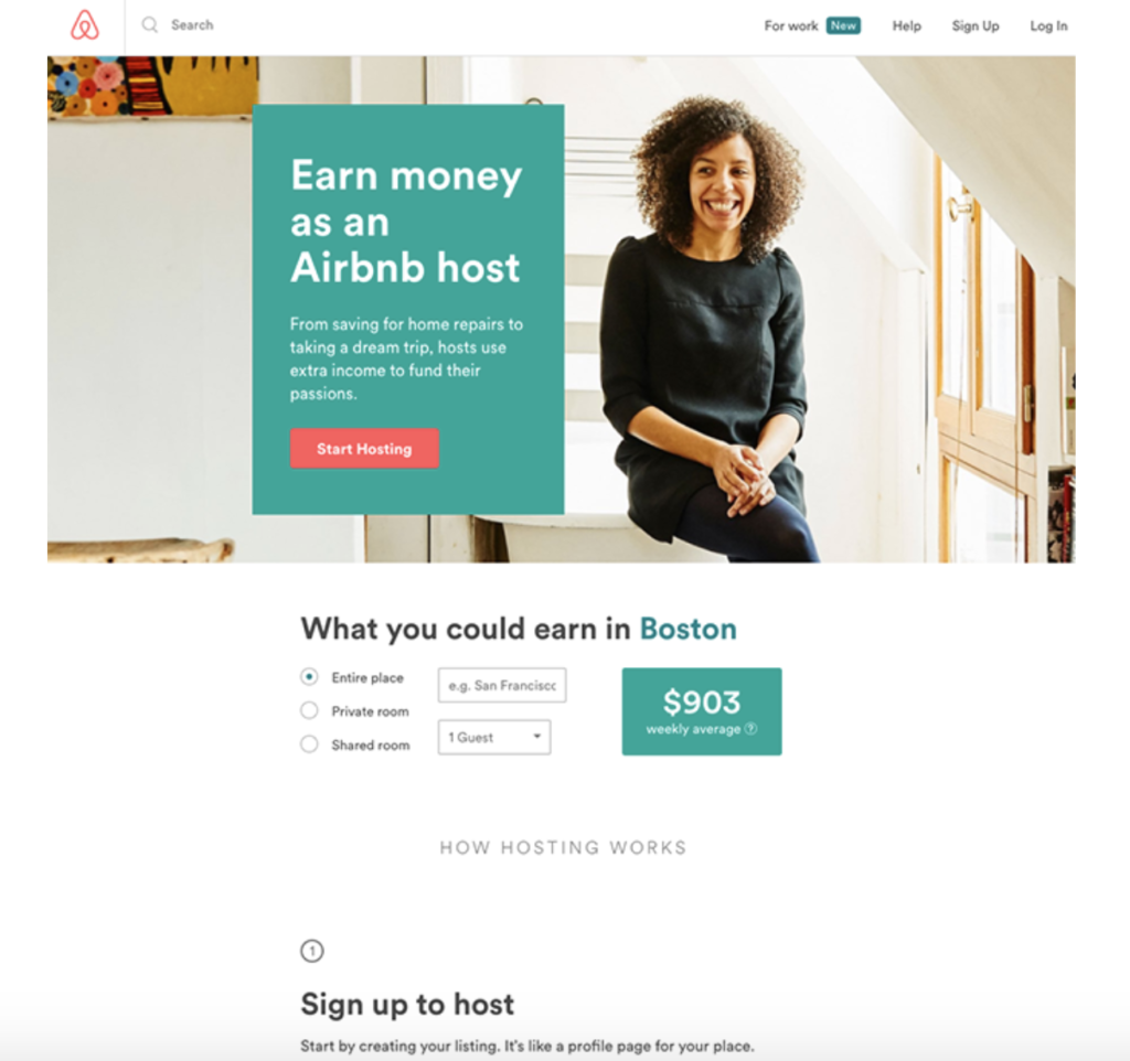 Landing Page example of Airbnb
