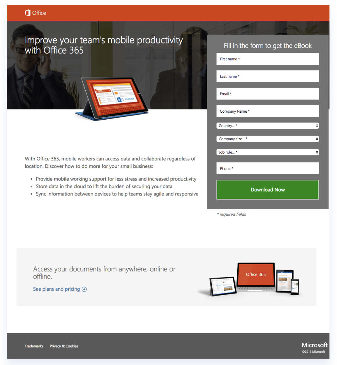 Landing Page example of Microsoft
