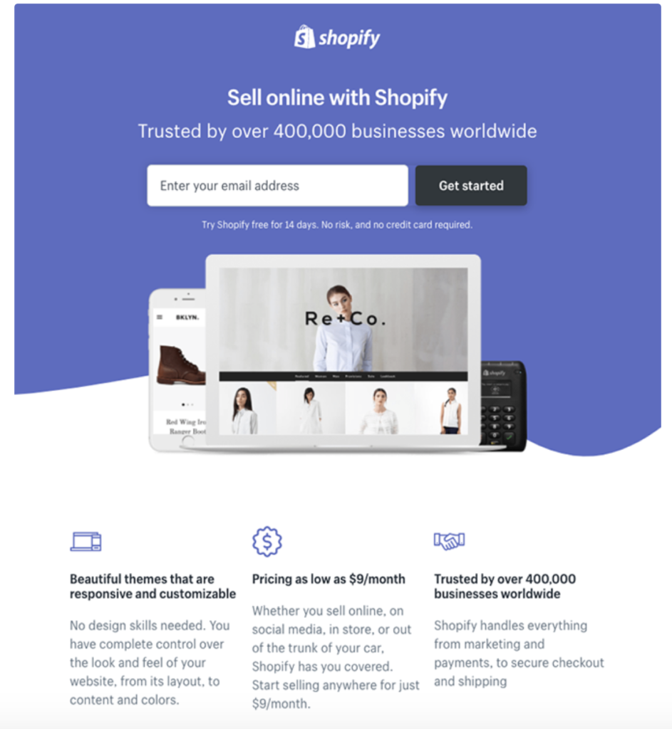 Landing Page example of Shopify