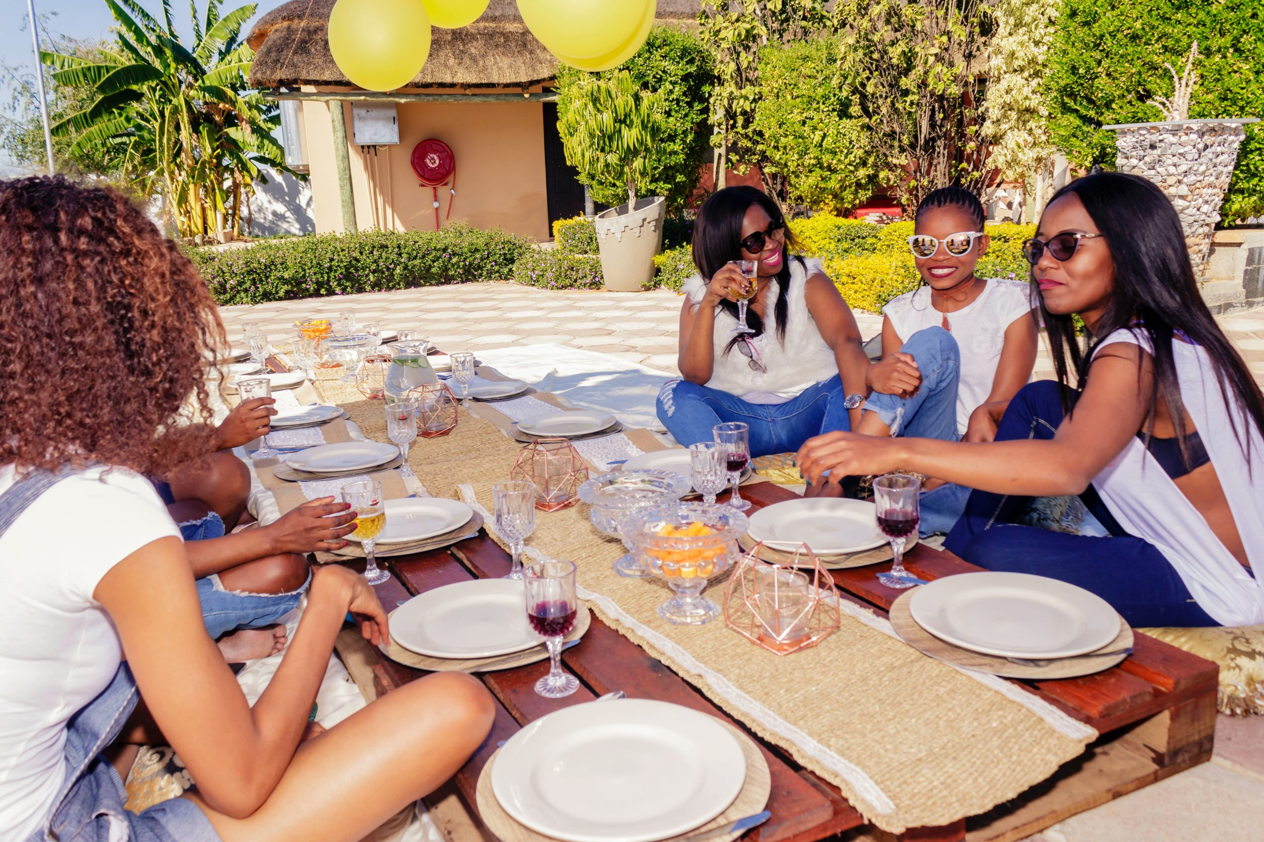 Group of black women on holiday