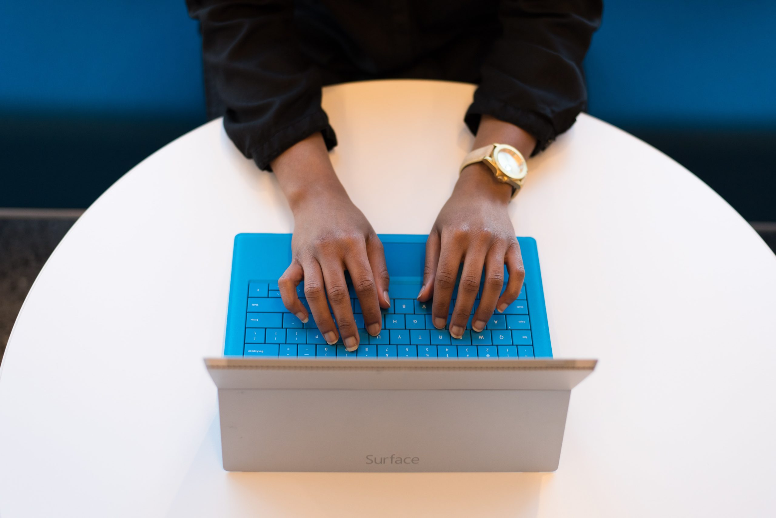 Woman's hands on laptop