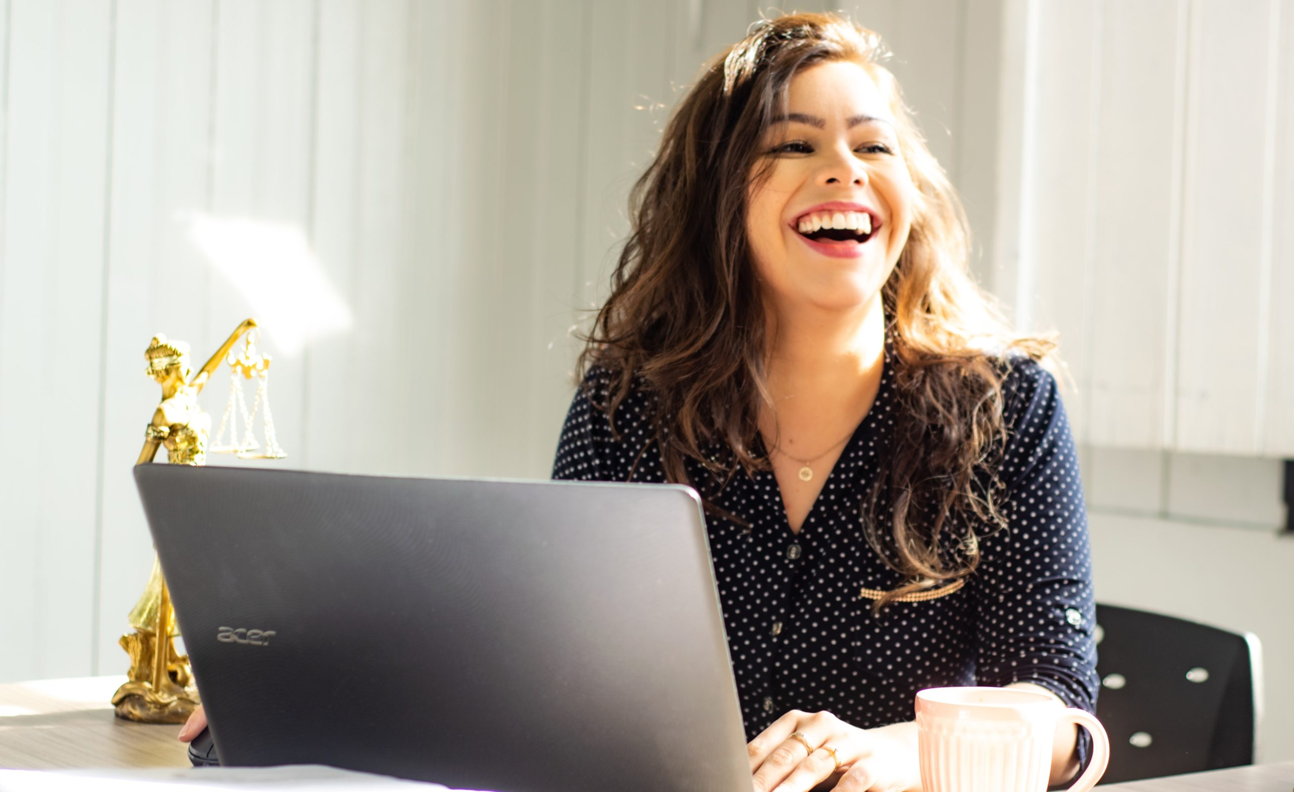 Female founder laughing